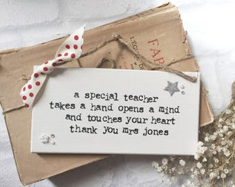 thank you teacher wooden sign personalised handmade handstamped