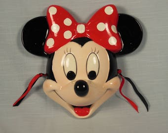 Vintage- Minnie Mouse-Ceramic Collectible Face Mask-Schmid-With Box