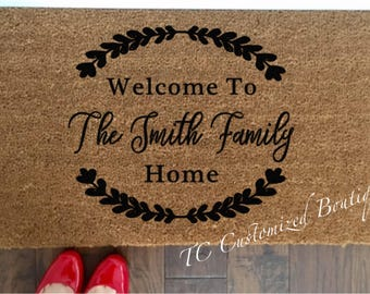 Family Welcome Mat, Family Doormat, Family Mat, Family Rug, Custom Mat, Custom Doormat, Mat, Doormat, Rug, Welcome doormat, Welcome Mat