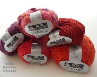 Set of 5 skeins of SMC nomotta wool blend and acrylic