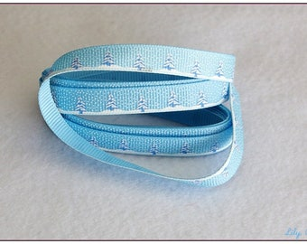 tree and snowflake 10mm sky blue ribbon 88cm