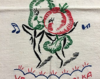 vegetable polka!  Vintage embroidered tea towel