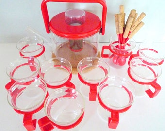 Danish Bodum set of eight cups and Bodum Glass Teapot Infuser Strainer Pot Cork Coaster