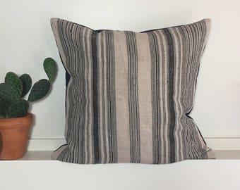Indigo Hemp Throw Pillow // Hmong Hill Tribe textile // Striped blue pillow