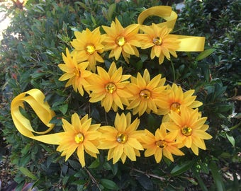 Rhinestone yellow daisy flower halo