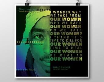 Tupac Shakur Poster, Tupac Shakur Print, Tupac Shakur Art, Hip Hop Art, Rap Art, All Eyez On Me, 8x8