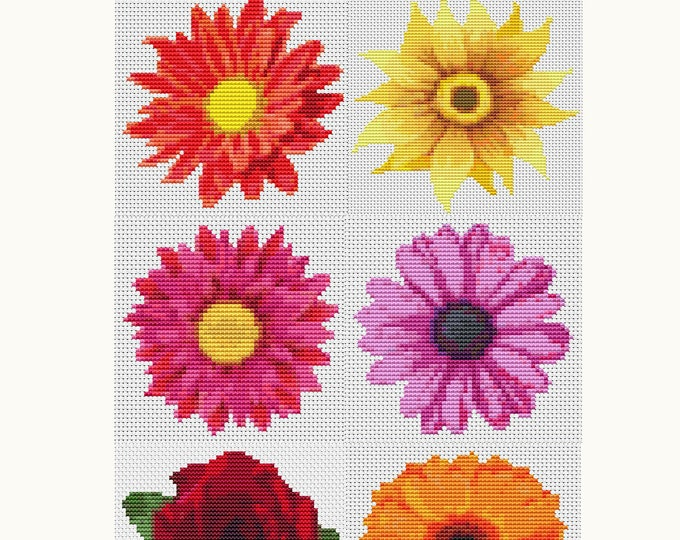 Cross Stitch Pattern PDF Set Flower Series, Floral Cross Stitch, Art Cross Stitch, 6 Flowers (Book02)
