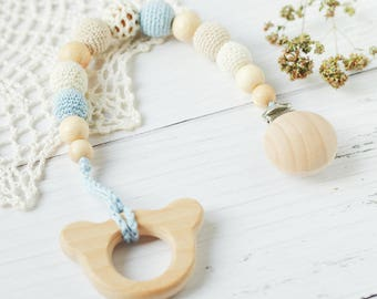 Pacifier clip holder with Organic Wooden Baby Teether - Natural Teething Sensory Newborn toy - Crochet toy - Baby shower gift