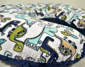 Minky Boppy Cover - Teal Roar Minky - Navy Minky Dimple Dot - Dinosaur Boppy Cover - Nursing Pillow Cover - Double Minky - Boppy Pillow Sham
