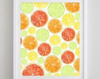 Citrus Watercolor Art Print