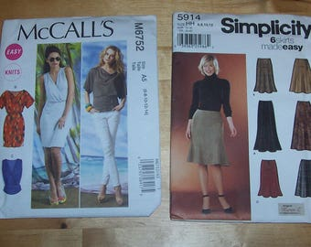 McCall's Sewing Pattern 6752 and Simplicity 5914 - Women's Skirt, Blouse, and Dress Patterns - LOT of 2