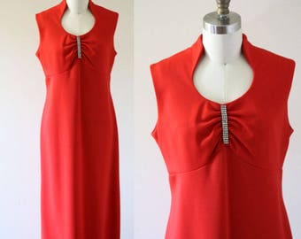 1970s red maxi dress // 1970s red rhinestone dress // vintage dress