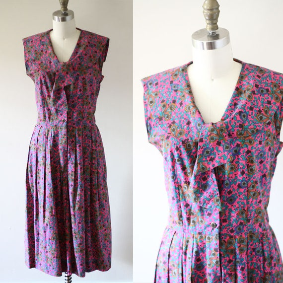 1960s floral shirt dress // 1960s sailor dress // vintage dress
