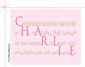 Baby Girl Room Decor Baby Nursery Wall Art Baby Name Gift Unique Gifts For Girls 1st Birthday Gift Digital Print Art Name Poem 8x10 Charlie