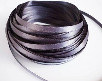 1 meter of Ribbon in satin and gray 5mm