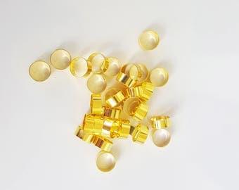 15 crimp 7mm gold metal beads
