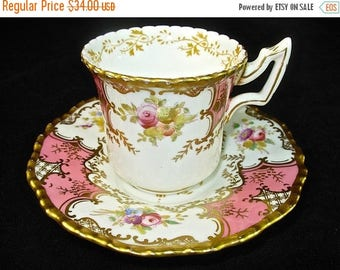 COALPORT BATWING PINK Demi Cup & Saucer, Hand Painted, #2665