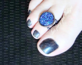Toe Ring | Purple Acrylic Druzy | Hematite | Stretch Bead Toe Ring