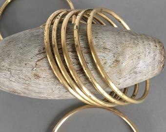 "Large Vintage Brass Ring, Seamless Brass Bangle, Gold Bangles, 3"",3Pcs"
