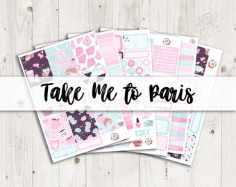 Take Me to Paris Vertical Weekly Kit - ECLP, TN, Personal, Happy Planner Stickers