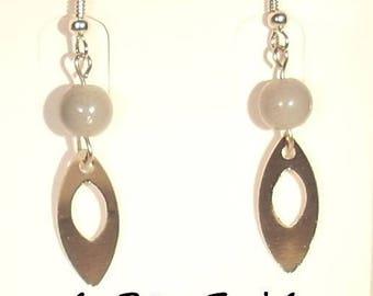Glass bead hook earrings grey and silver metal openwork leaf