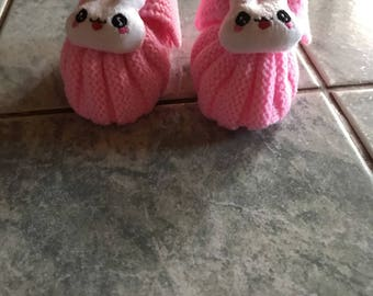 Little pink slippers with decoration - size 0/3 months - hand made