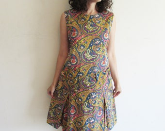 Vintage 60s 70s Paisley Print Drop Waist Dress with Pockets and Front Kick Pleats