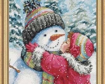 Cross Stitch Kit - A Kiss for Snowman