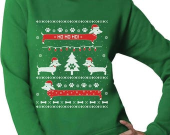 Funny Dachshund Snow Ho Ho Ho Ugly Christmas Sweater Women Sweatshirt