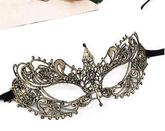 Venetian Gold Lace Face Eye Mask,  Halloween Women Costume Masquerade Mask