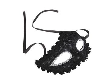 Rhinestones Black Lace Face Eyes Mask For Halloween ,Masquerade,Costume Party
