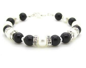 Black Ivory Bracelet, Ivory Pearl Jewellery, Black Rhinestone Jewellery, Ivory Black Wedding, Bridesmaid Bracelet, Bridal Party Gift,