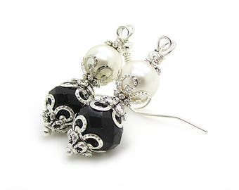 Pearl and Crystal Earrings, Black and Ivory Jewellery, Bridesmaid Sets, Bridal Party Gifts, Pearl Drops, Crystal Dangles, Ivory and Black