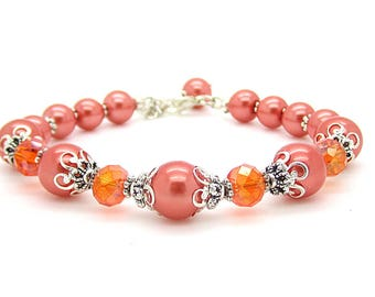 Orange Pearl Bracelet, Tangerine Bridesmaid Jewellery, Pearl Bridal Sets, Persimmon Wedding, Burnt Orange Jewellery, Bridesmaid Gifts