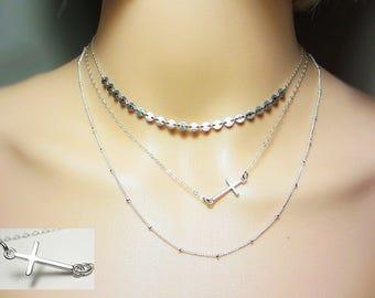 925 Sterling Silver Cross Necklace Side Cross Necklace Layering Necklace Delicate Necklace Spiritual Everyday Jewelry Off Side Cross Gift
