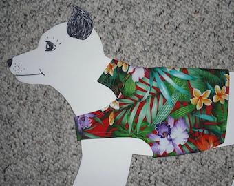 "Lightweight Dog Shirt, x-small (8-14 lb) Surfer Dog Hawaiian Party shirt. All cotton & reversible 16"" girth"