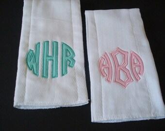 Monogram Burp Cloths, Baby Burp Cloths, Personalized Baby Gift, Baby Shower Gift, Diaper Burp Clothss