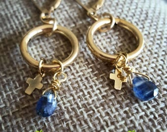 SageAine : Blue Kyanite Gemstone Circle Gold Cross Earrings,  Auric Shield, Reiki Charged, Crystal Healing, All Chakras, Gift for her