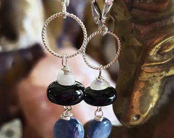 SageAine: Shungite Blue Kyanite and Moonstone Sterling Silver Circle Earrings, Purify, Protect, Align Chakras, Reiki charged, Gift for her