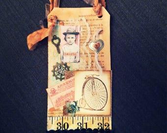 Mixed Media Art Tag, French Market Style, Wall Decor,Shabby Chic Tag, Handmade Tags, Gift Tags, Vintage Style Tags, Wall Decor, No. 0821