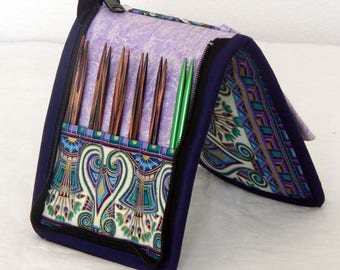 """12 pair capacity Interchangeable knitting needle and crochet hook case for needles 3.5"""" to 6.25"""" in length to size 9 Egypt, Egyptian"""