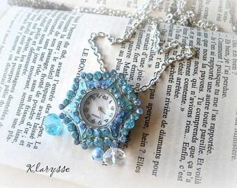 Vintage blue KLARYSSE style Pocket Watch creation rhinestones