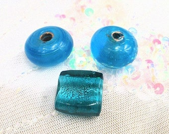 set of blue Murano glass beads