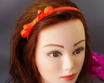 """Headband orange """"Poplin"""" Ribbon with white dots with bow"""