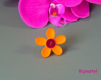"Fancy ring Brown ring button and orange ""flower"" adjustable"