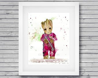 Baby Groot art print: Groot artwork, I am Groot, Guardians of the Galaxy art, Groot fan art, Baby Groot, Groot wall decor, Groot lover gift