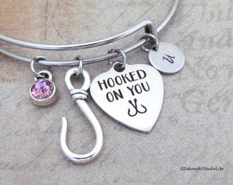 Hooked on you Fish Hook Charm Personalized Hand Stamped Initial Birthstone  Stainless Steel Boyfriend Girlfriend Heart Bangle Bracelet