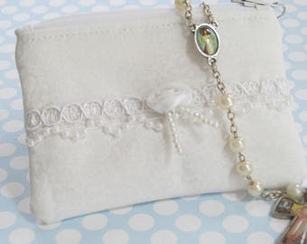 Girl's First Communion Pouch, White, Lace, Catholic