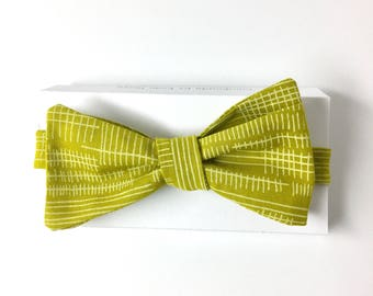 Yellow Green Bow Tie With Hash Marks
