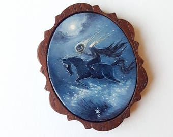 The Dullahan - Miniature Acrylic Painting by Amy E Owers